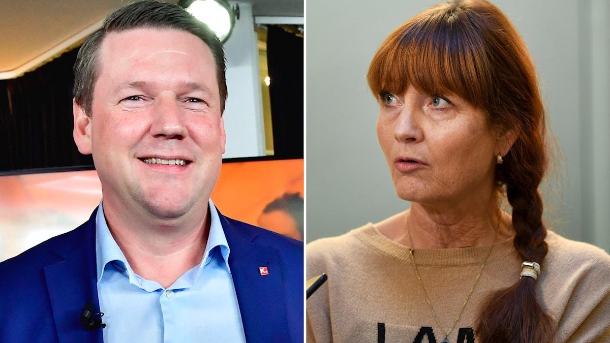 Tobias Baudin, ordförande för Kommunal, och  Marie Nilsson, ordförande för IF Metall