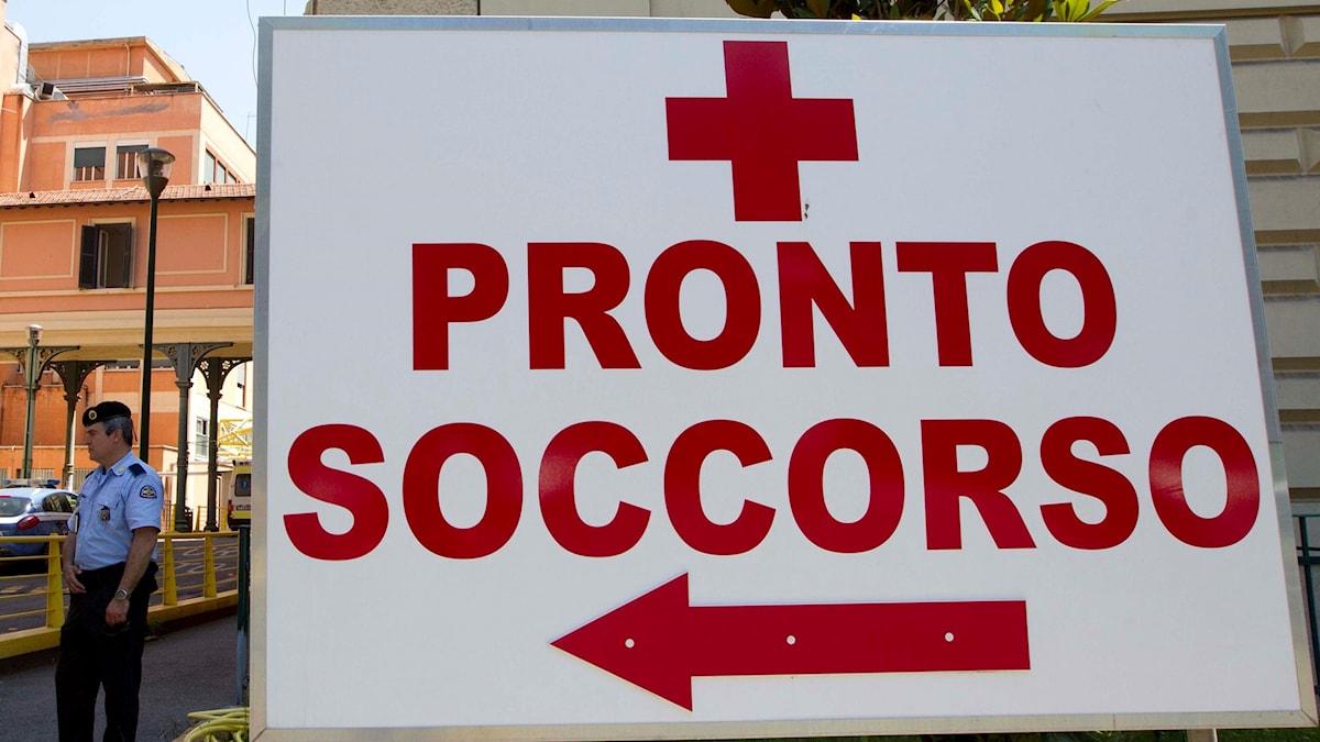 Skylt på italienska för en akutmottagning