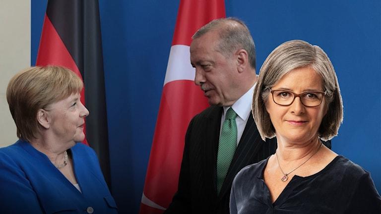 Turkiets president Tayyip Erdogan skakar hand med Tysklands förbundskansler Angela Merkel.
