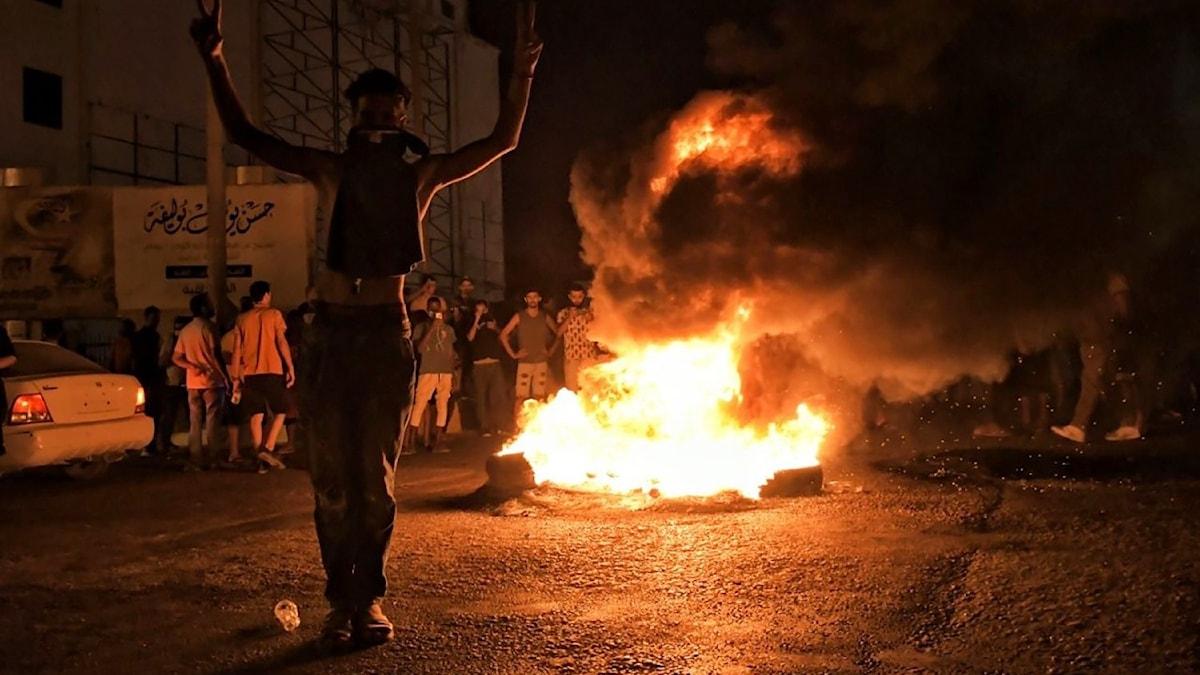 Protester i Benghazi, Libyen.