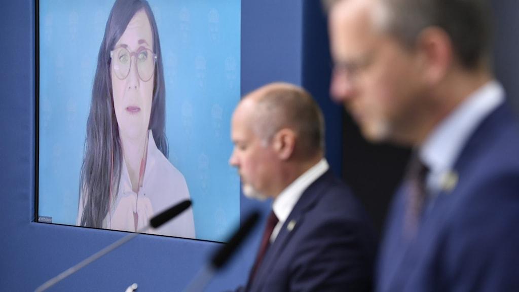 Jämställdhetsminister Märta Stenevi, (MP) justitieminister Morgan Johansson (S) och inrikesminister Mikael Damberg (S) håller en digital pressträff efter fredagens möte om mäns våld mot kvinnor.