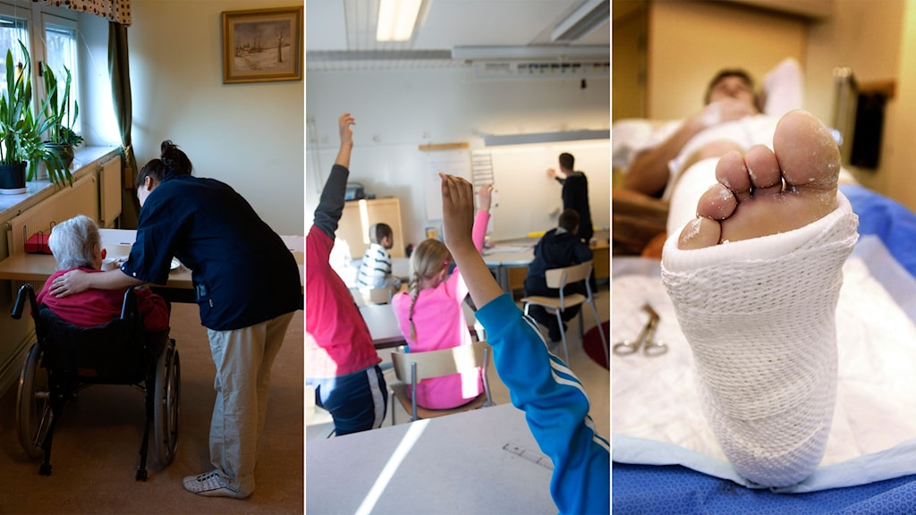 Tredelad: Äldreomsorg, elever i en skola, gipsad fot