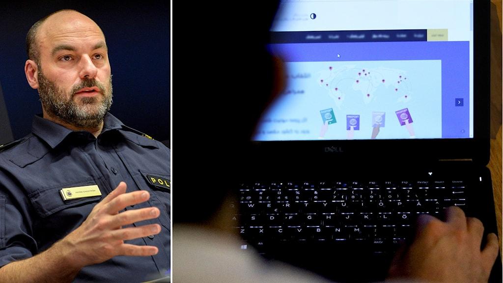 Patrik Engström, chef för gränspolisen. Man framför dator med hemsida på skärmen.
