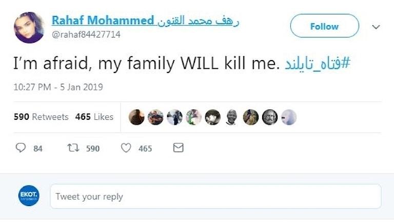 Rahaf Mohammed Alqunun, vädjar på Twitter