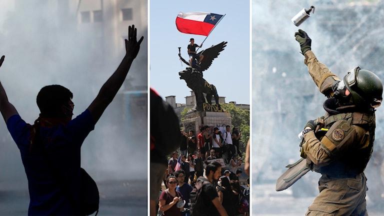 Stora protester i Chile
