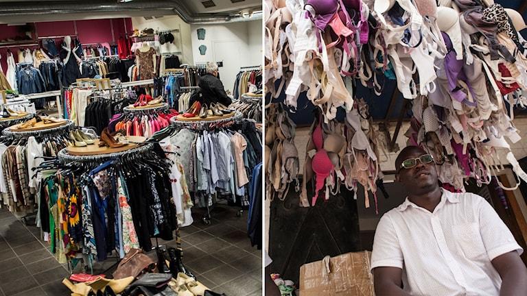 Delad bild: begagnat butik i Sverige, man i Senegal som säljer begagnade västerländska kläder