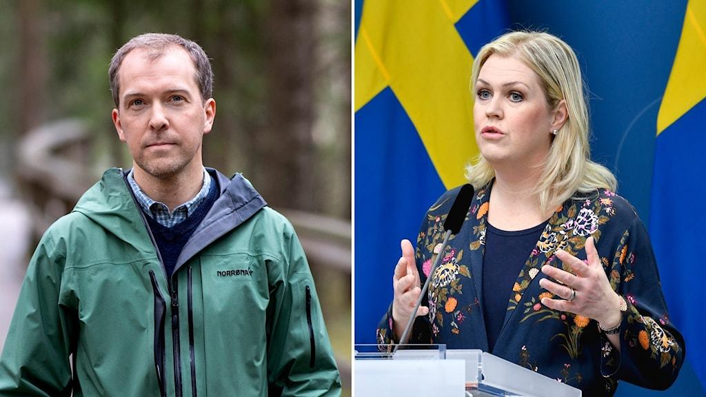 Man i grön jacka och kvinna i blommig blus