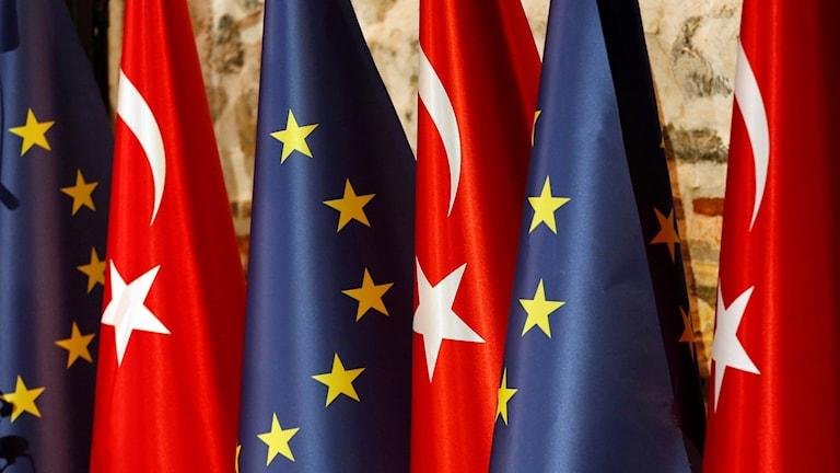 Turkiska flaggor och EU-flaggor (arkivbild). Foto: Lefteris Pitarakis/TT.