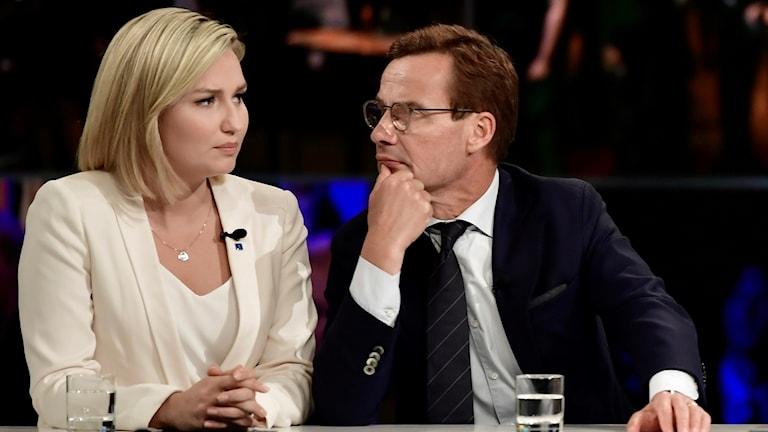 Ebba Busch Thor (KD) och Ulf Kristersson (M).