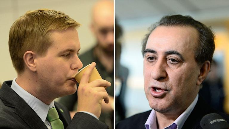 MP-språkröret Gustav Fridolin, och partiets utbildningspolitiska talesperson, Jabar Amin. Foto: TT.
