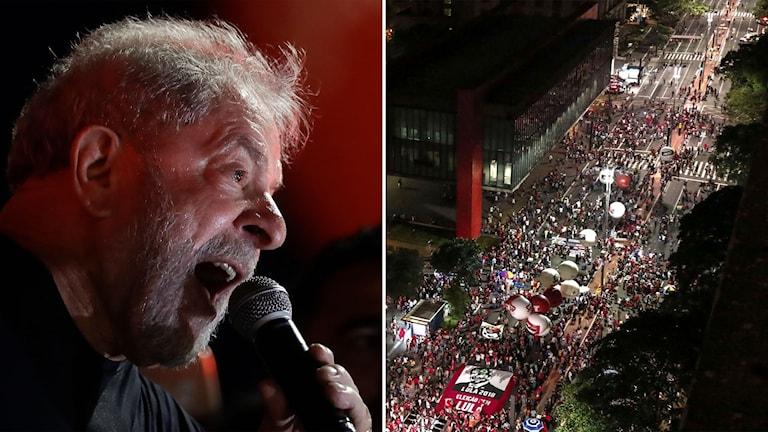 Delad bild: Man som talar, demonstrationståg