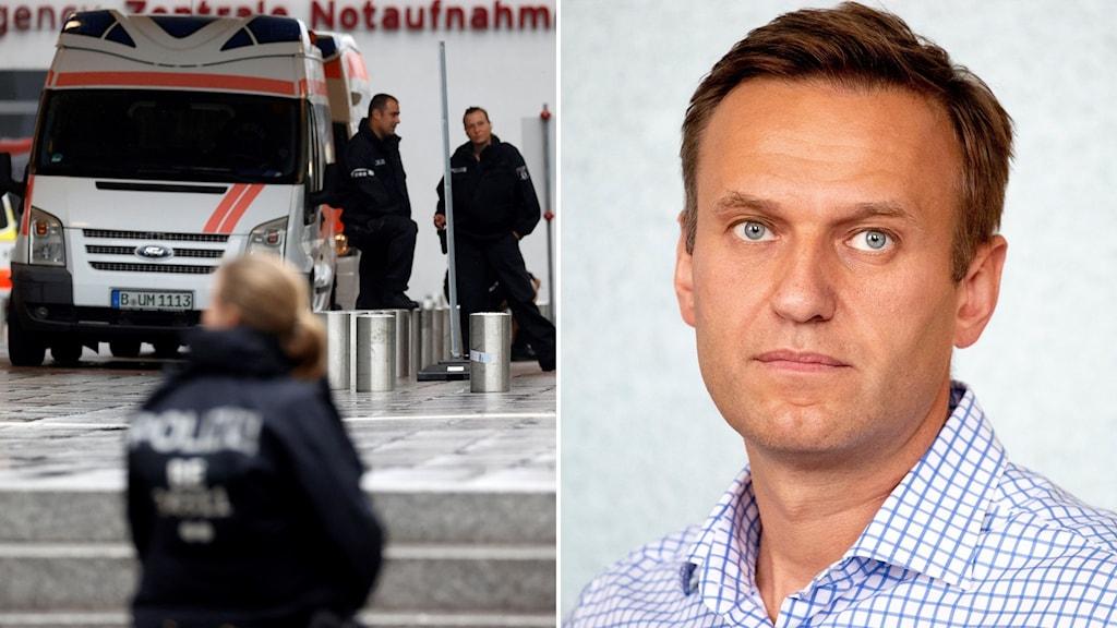 Tysk polis utanför sjukhuset i Berlin där Aleksej Navalnyj vårdas.
