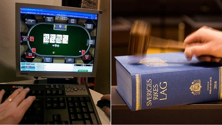 Kvinna sitter och spelar nätpoker vid en dator. Till höger lagboken.
