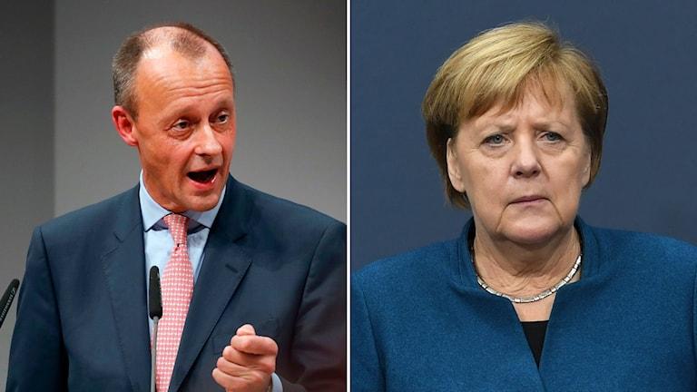 Angela Merkel och Friedrich Merz.