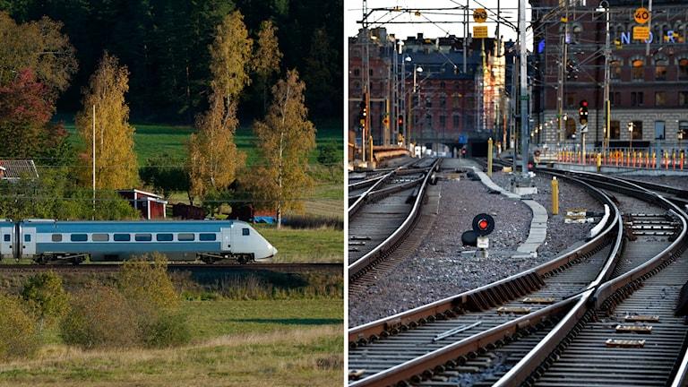 Tåg och järnväg.