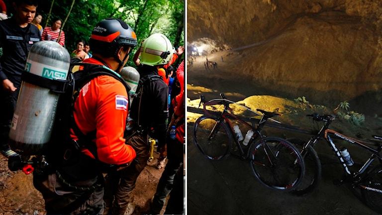 Ett thailändskt fotbollslag är fast i en grotta.