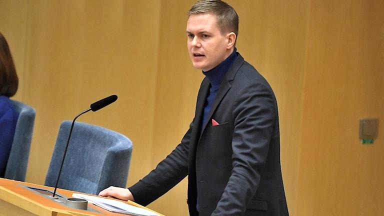 Miljöpartiets språkrör Gustav Fridolin