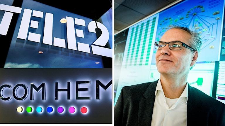 Tele2 och Comhem går ihop. Anders Nilsson, vd Comhem. Foto: Janerik Henriksson/Magnus Hjalmerson Nejdeman/TT. Montage: Sveriges Radio.
