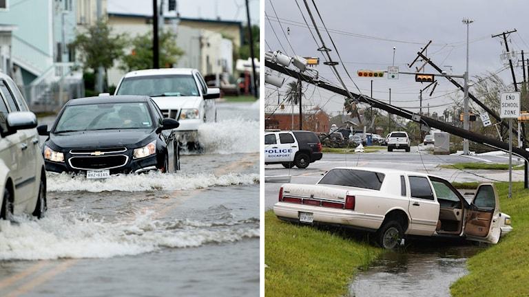 Bilar kör på översvämmade gator.