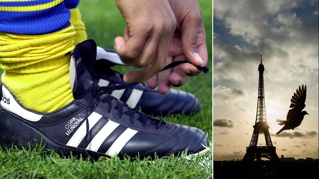 Delad bild: Fotbollsspelare knyter sina skor och en duva flyger förbi Eiffeltornet