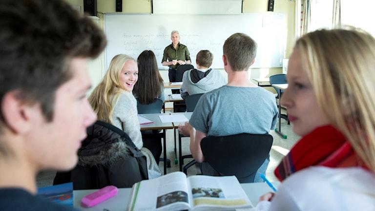 Klassrum, lektion, lärare, elever