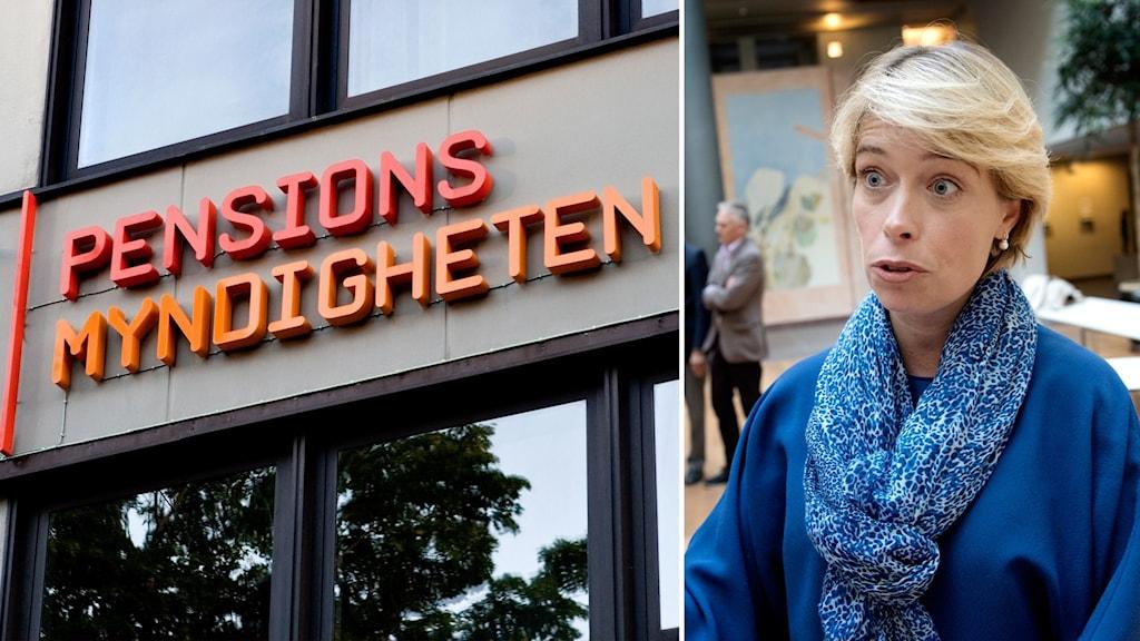 Bildkollage med en skylt från Pensionsmyndigheten och Annika Strandhäll