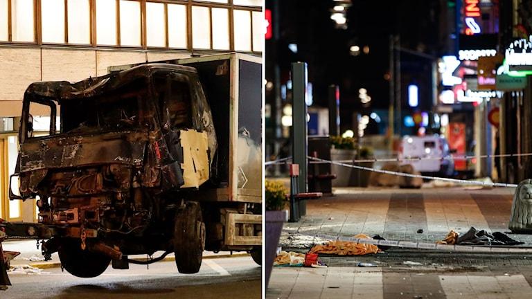 Delad bild: Lastbilen som användes i attacken och Drottninggatan kvällstid.