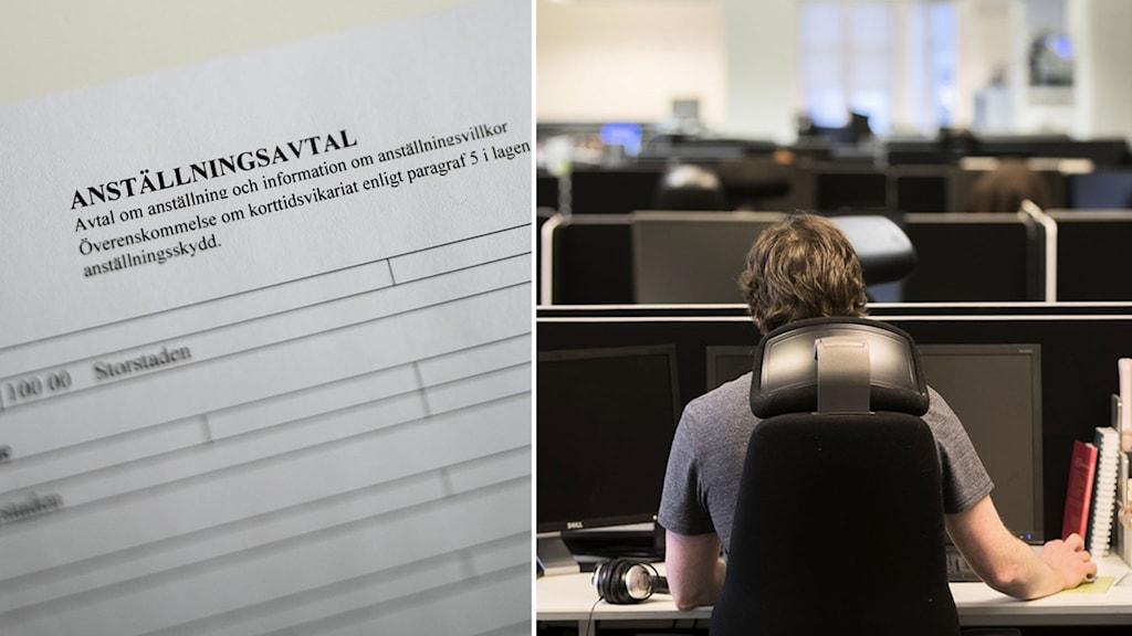 Ett anställningsavtal och en person som sitter i ett kontorslandskap.