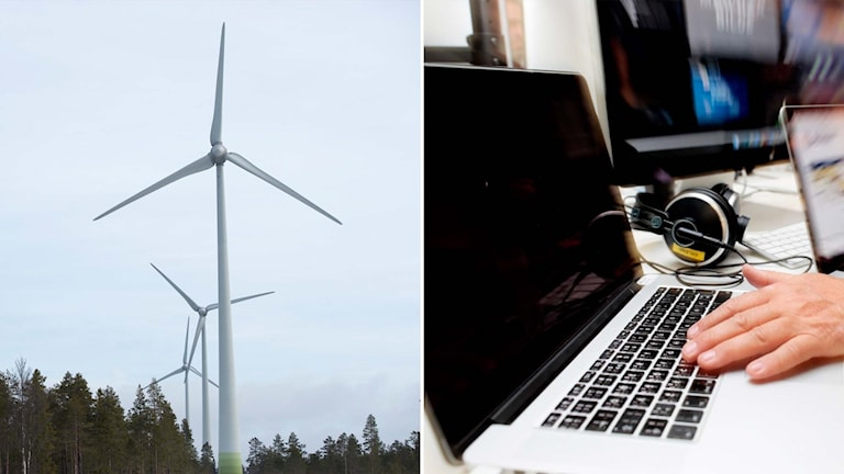 Delad bild; Vindkraftverk och dator.