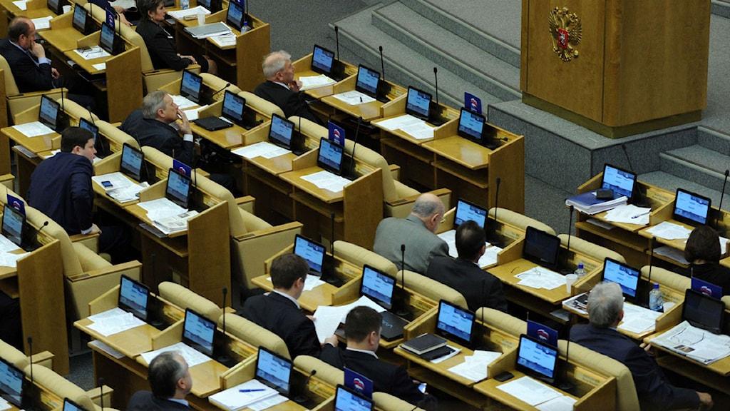 Underhuset i duman, det ryska parlamentet. Foto: Kirill Kudryavtsev/Scanpix.
