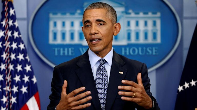 På sin allra sista presskonferens som president mötte Barack Obama i kväll pressen i Vita Huset.