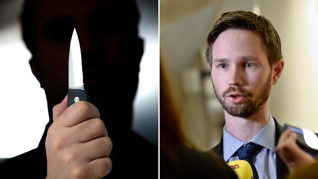 kniv  och bild på miljöpartiets rasmus ling