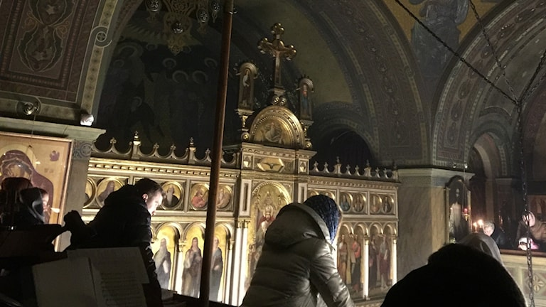 Uppe på läktaren i St Georgs rysk ortodoxa kyrka i Lviv. Foto: Maria Persson Löfgren/Sveriges Radio.