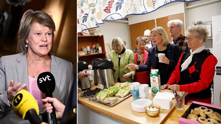 Delad bild: Ulla Andersson framför mikrofon, Magdalena Andersson omgiven av pensionärer och gurkmackor.