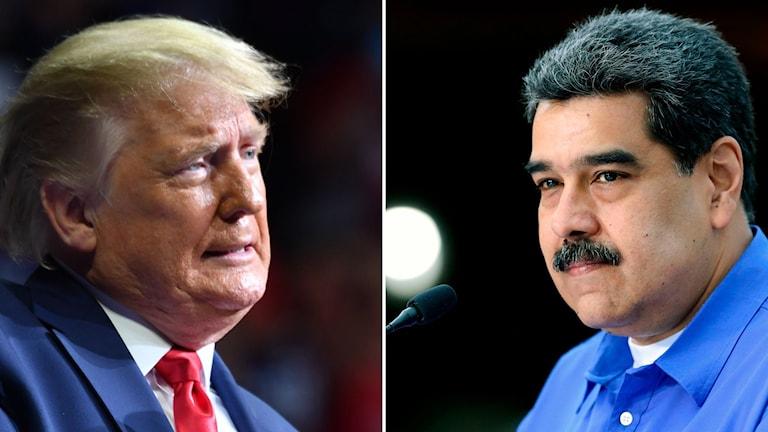 Delad bild: Donald Trump och Nicolas Maduro.