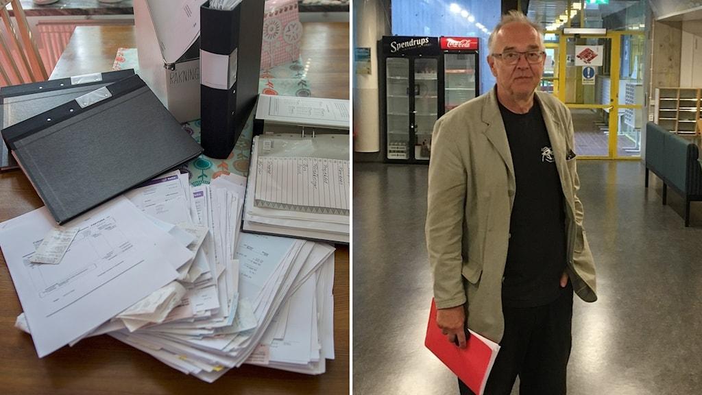 Hög med papper och journalisten och yttrandefrihetsexperten Nils Funcke.