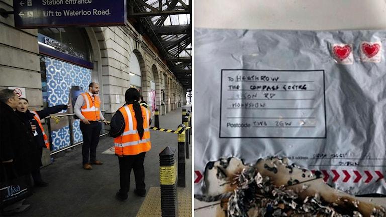 Vakter utanför tågstationen Waterloo i London, och brevbomben som skickades till flygplatsen Heathrow.