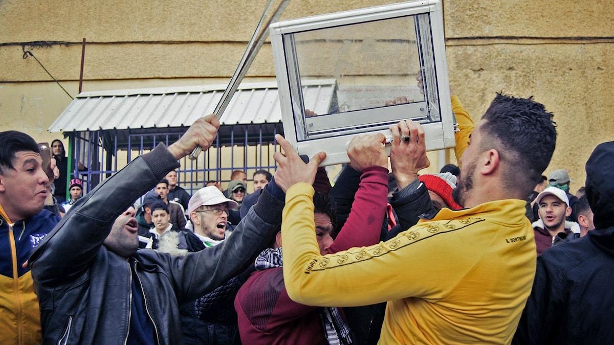 Bild där personer bär en valbox i Algeriet.