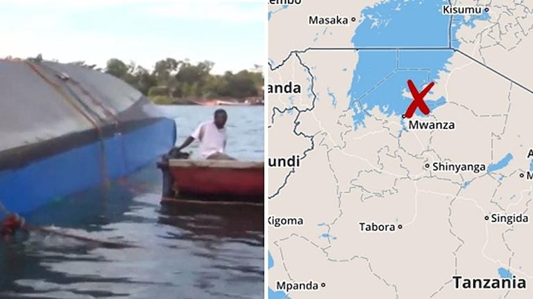 En kantrad båt och en karta.