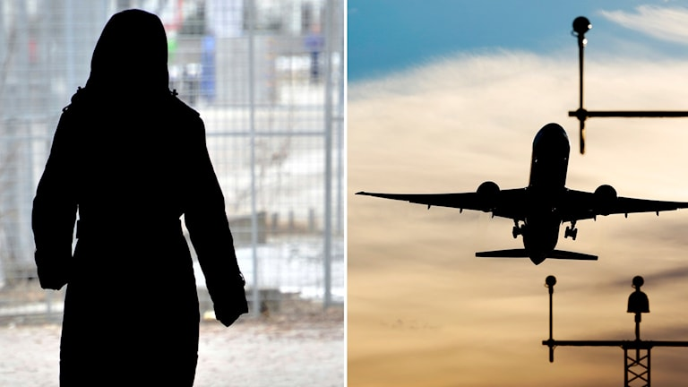 En kvinnas siluett och ett flygplan.