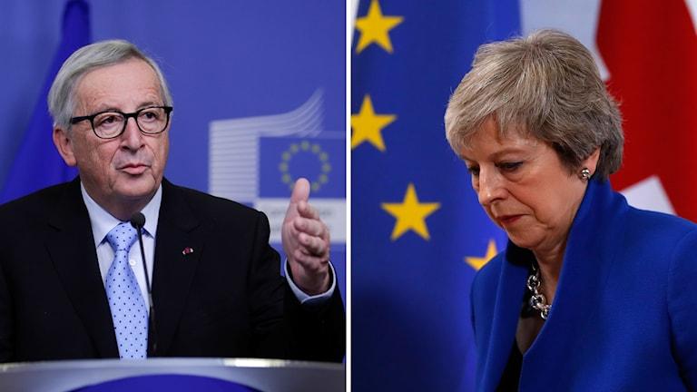 Theresa May och Jean-Claude Juncker