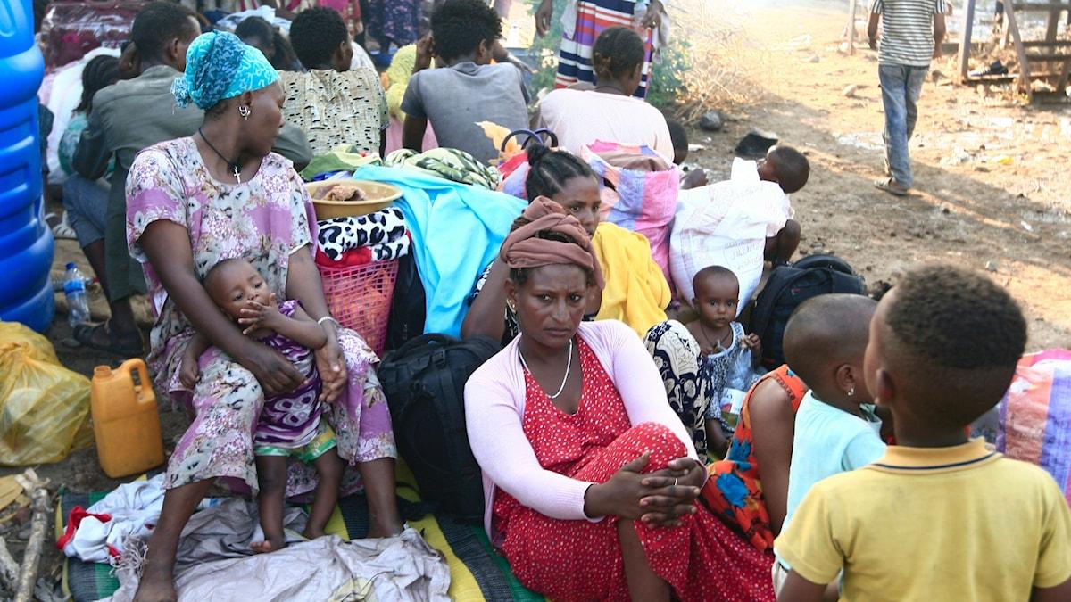 Flyktingar från Tigray samlas vid gränsövergången till Kasala i östra Sudan.