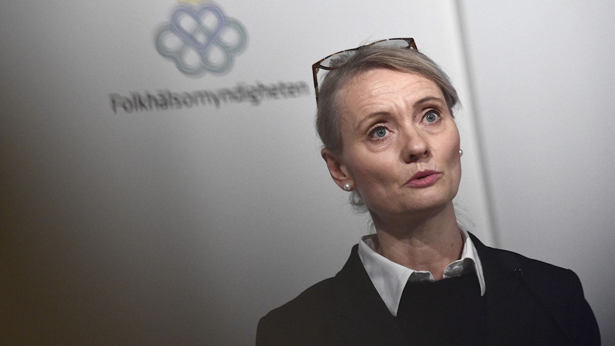Karin Tegmark Wisell vid Folkhälsomyndighetens pressträff