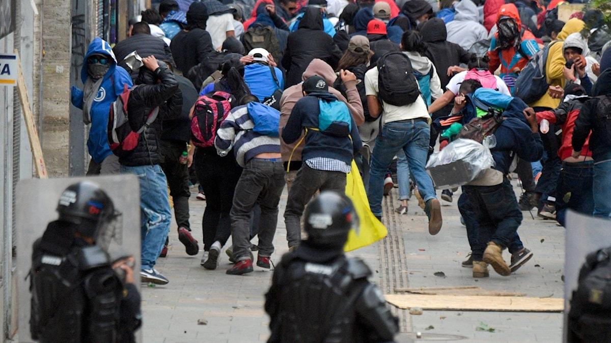 Demonstranter i Colombia