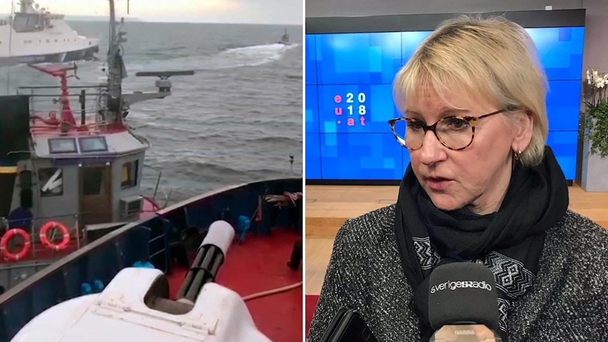 En ukrainsk bogserbåt och den ryska kustbevakningen i någon form av sammandrabbning.