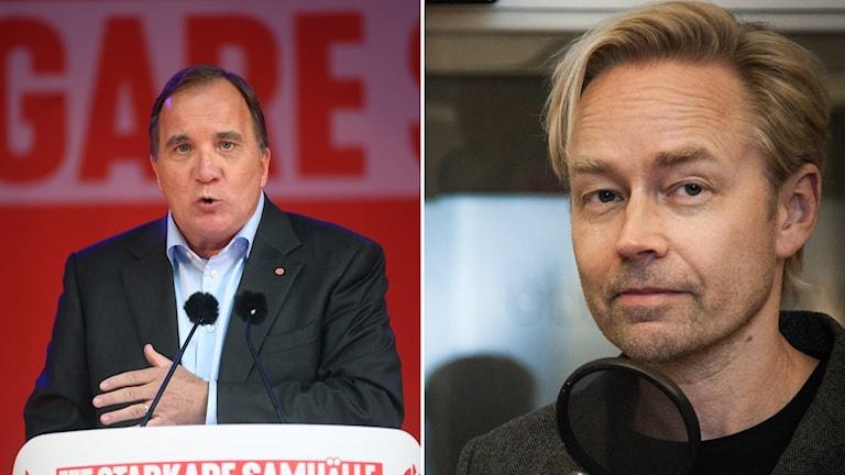 Stefan Löfven (S) och Ekots politiske kommentator Fredrik Furtenbach.