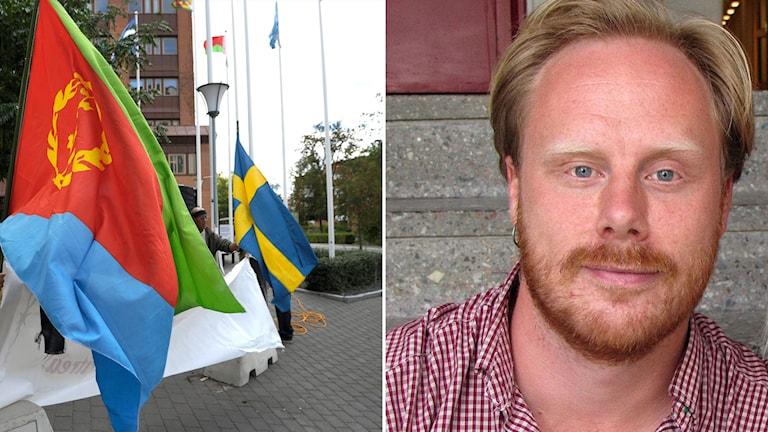 Eritreansk och svensk flagga utanför Eritreas ambassad och en bild på Max Stockman, handläggare vid myndigheten för stöd för trossamfund.
