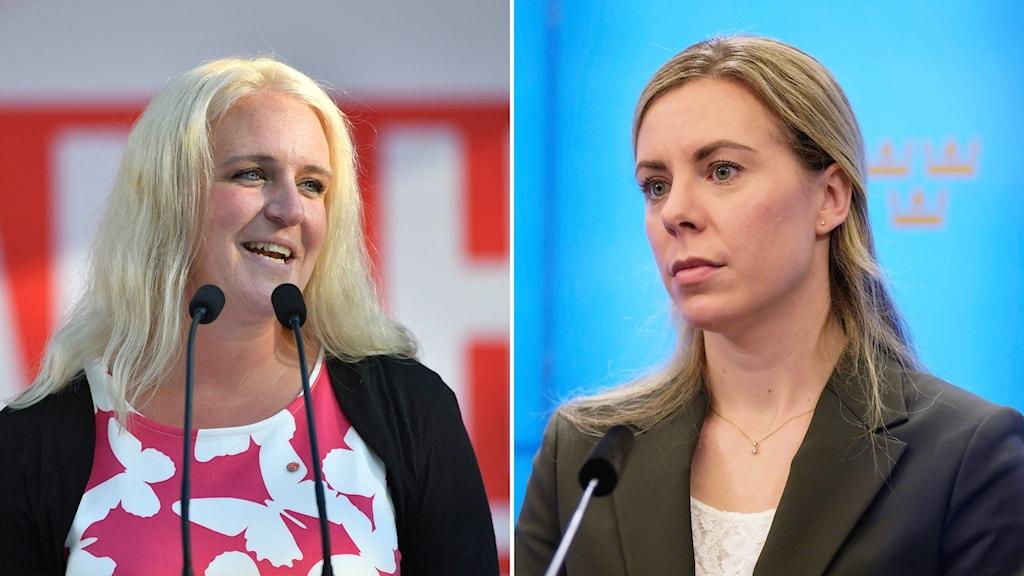 Hanna Westerén (S) och Jessica Rosencrantz (M).