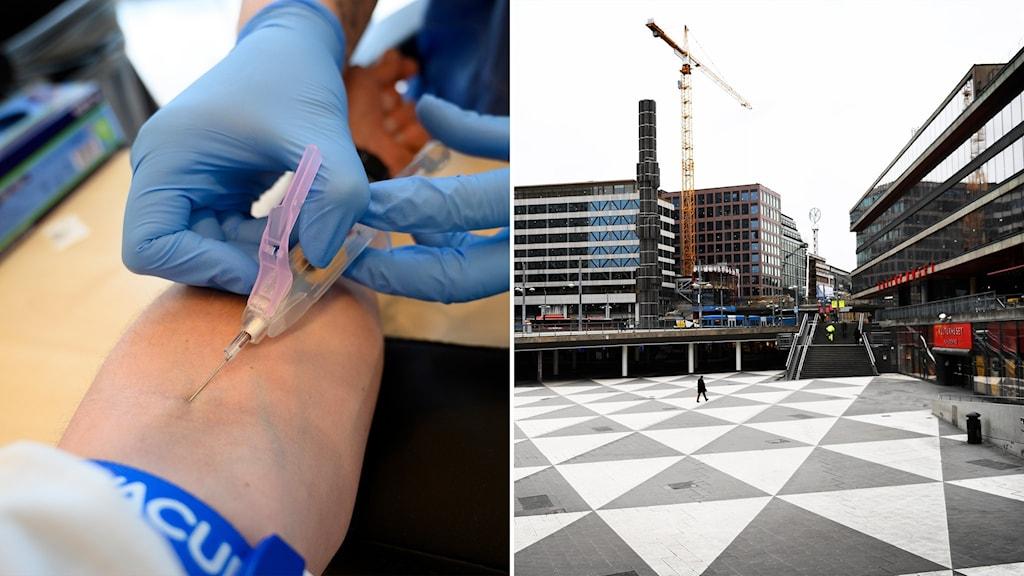 Delad bild: Provtagning i arm, ett tomt Sergels torg i Stockholm.