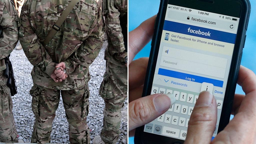 Soldater med ryggen mot kameran och Facebook på mobilen.